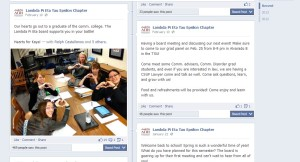 This is a screenshot of the Lambda Pi Eta - Tau Epsilon Communications Honor Society's Facebook page, which I updated.